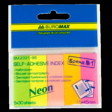 Закладки бумажные 45 x 15 мм, 5 х 30 листов, ассорти, неон, Buromax BM.2331-98