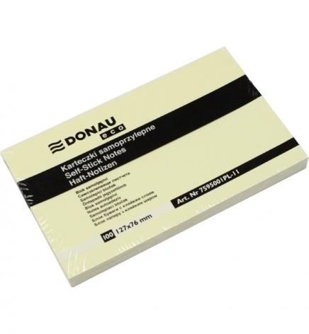Стикеры бумажные  76 х 127 мм, 100 л. Donau 7595001PL желтый пастельный