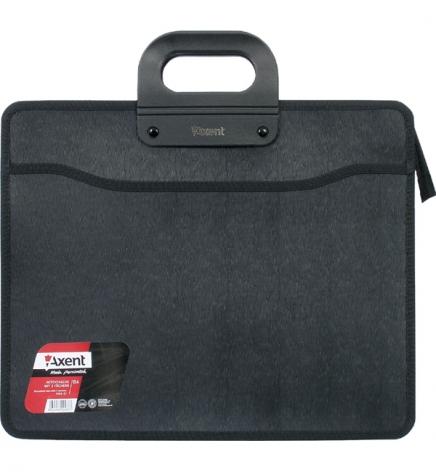 Портфель пластиковый на 3 отделения, В4, с тканевыми боками на молнии, черный, AXENT 1603-01-A