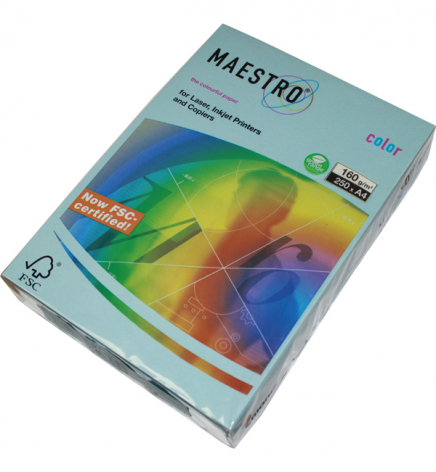 Бумага Maestro Color Pastel A4 160 г/м2, 250 л Iceblue (голубой) OBL70
