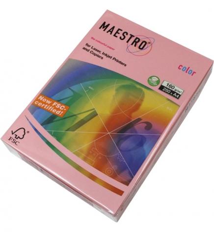 Бумага Maestro Color Pastel A4 160 г/м2, 250 л Pink (розовый) PI25
