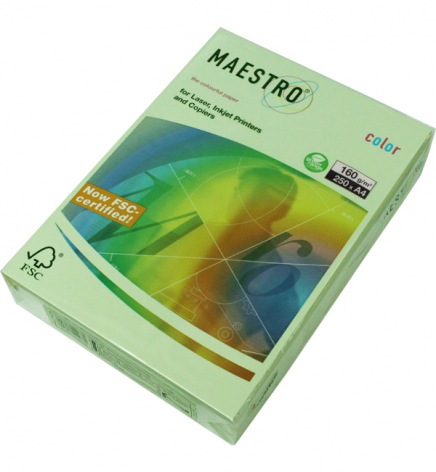 Бумага Maestro Color Pastel A4 160 г/м2, 250 л Green (cветло-зеленый) GN27