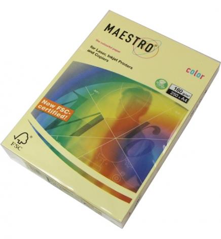 Бумага Maestro Color Pastel A4 160 г/м2, 250 л Yellow (желтый) YE23