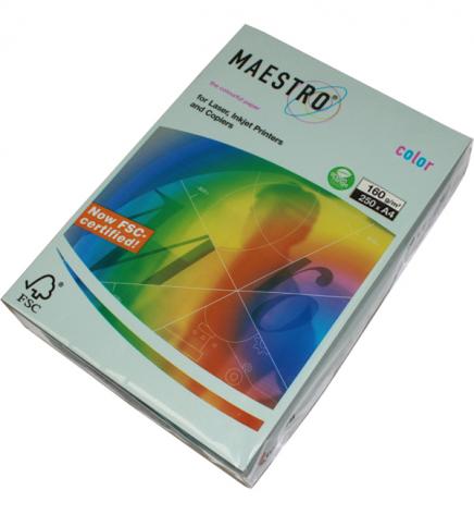 Бумага Maestro Color Pastel A4 160 г/м2, 250 л Blue (голубой) BL29