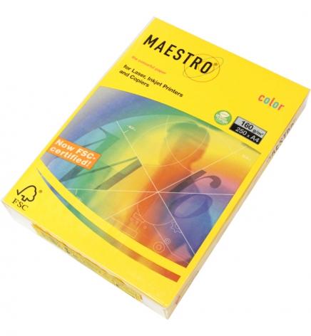 Бумага Maestro Color Intensive A4 160 г/м2, 250 л Sun Yellow (тёмно-желтый) SY40