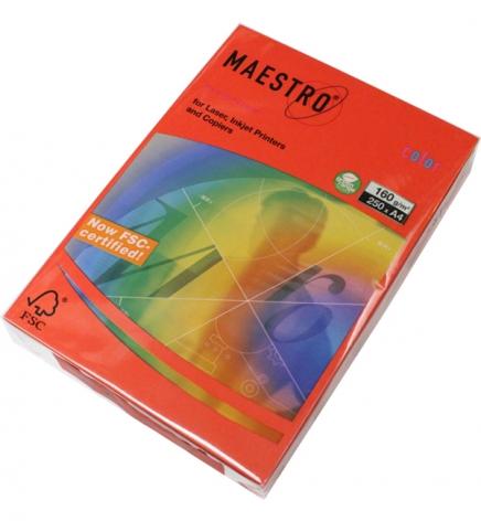 Бумага Maestro Color Intensive A4 160 г/м2, 250 л Coral Red (кораллово-красный) CO44