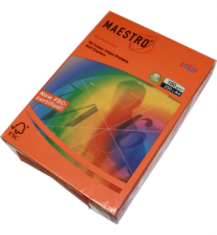 Бумага Maestro Color Intensive A4 160 г/м2, 250 л Orange (оранжевый) OR43