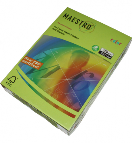 Бумага Maestro Color Intensive A4 160 г/м2, 250 л Lime Green (зеленый) LG46
