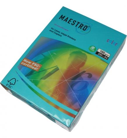 Бумага Maestro Color Intensive A4 160 г/м2, 250 л Blue (синий) AB48