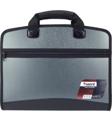 Портфель пластиковый на 4 отделения, В4 (300 х 380 мм), с тканевыми боками на молнии, AXENT 1621-11-A