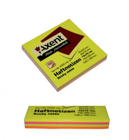 Стикеры бумажные  75 х 75 мм, 100 л. (4 цвета по 25 л) AXENT 2325-02-A