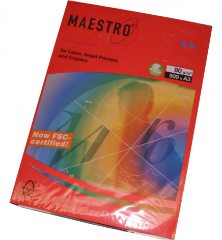 Бумага Maestro Color Intensive A3 80 г/м2, 500 л Coral Red (кораллово-красный) CO44