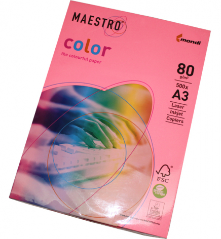 Бумага Maestro Color Neon A3 80 г/м2, 500 л Neon Pink (розовый неоновый) NEOPI