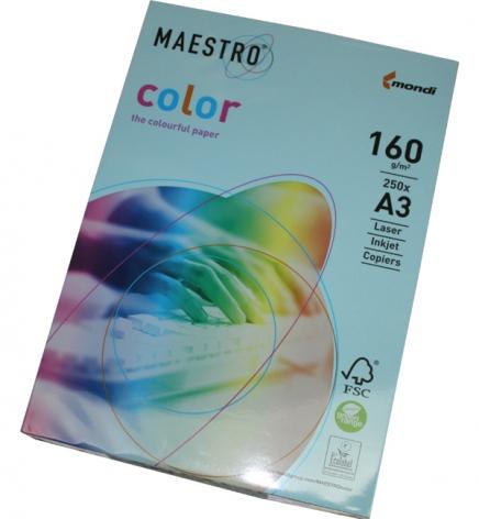 Бумага Maestro Color Pastel A3 160 г/м2, 250 л Medium Blue (голубой) MB30