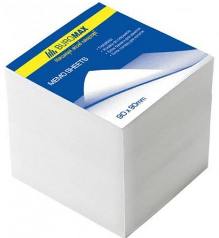 Блок белой бумаги для записей 9 х 9 х 9 см , не склеенный Вuromax BM.2219