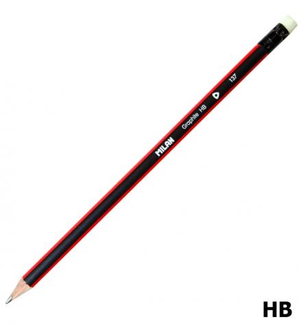 Карандаш графитный твердомягкий НВ с ластиком, трехгранный корпус, MILAN ml.0712370312