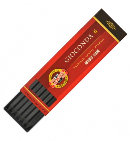 Грифель графит натуральный черный Gioconda, 5.6 мм, Koh-i-noor 4345/3 твердый