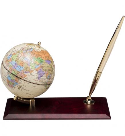 Глобус на подставке из натурального дерева с ручкой, красное дерево, BESTAR 0910WDM