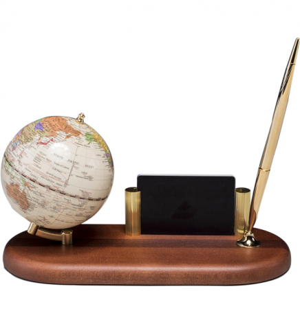 Глобус на подставке из натурального дерева с ручкой и подставкой под визитки, темная вишня,  BESTAR 0930HDV