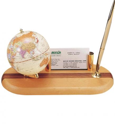 Глобус на подставке из натурального дерева с ручкой и подставкой под визитки, светлая вишня, BESTAR 0930HDY