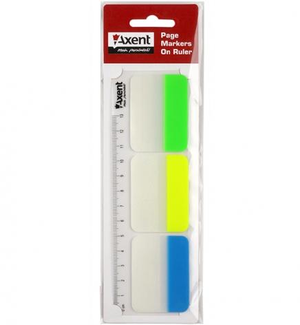 Закладки пластиковые 38 мм х 45 мм, 30 шт неоновых цветов  AXENT 2447-01-A