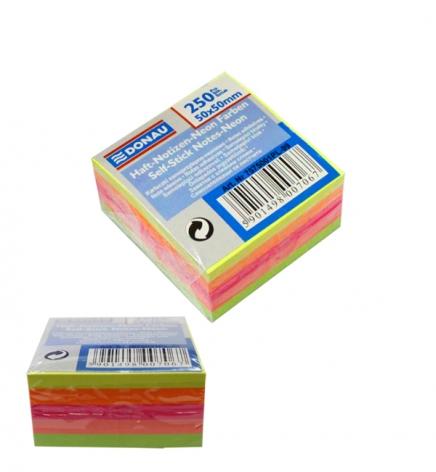 Стикеры бумажные неон 50 х 50 мм. 250 л. (5 цветов по 50 л.) Donau 7575001PL