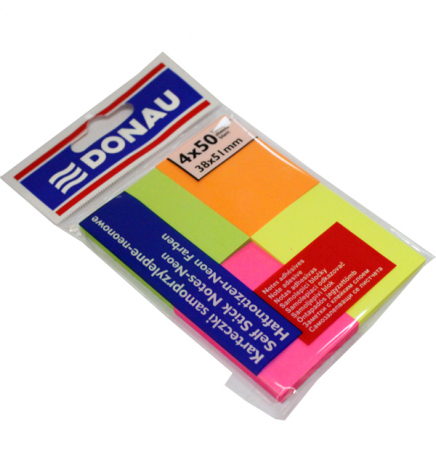 Стикеры бумажные неон 38 х 51 мм. 200 л. (4 цвета по 50 л.) Donau 7578001PL