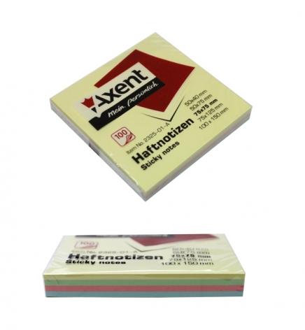 Блок для заметок 75 х 75 мм декор пастель (4 цвета по 25 л.) AXENT 2325-01-A