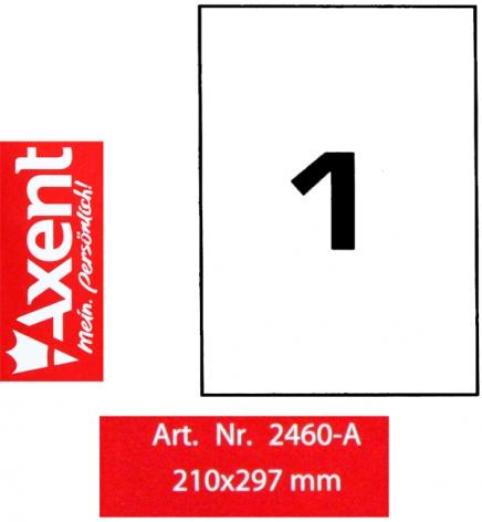Этикетки самоклеющиеся 1 шт. на листе, 210 х 297 мм (100 листов) Axent 2460-A