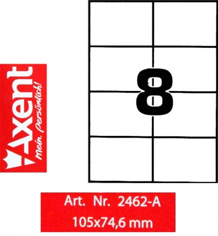Этикетки самоклеющиеся 8 шт. на листе, 105 х 74,6 мм (100 листов) Axent 2462-A