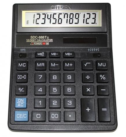 Калькулятор 12р. Citizen SDC-888XBK