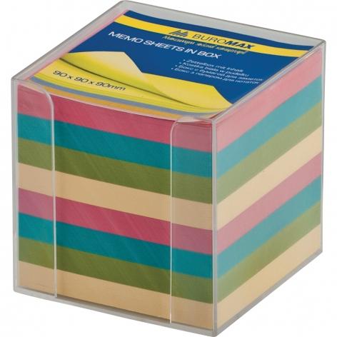 Бокс для бумаги 9 х 9 х 9 см в комплекте с цветной бумагой Buromax BM.2291-03
