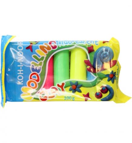 Пластилин Fluorescent  5 цветов, 100 г в полиэтиленовой упаковке, Koh-i-noor 01315S0502PS