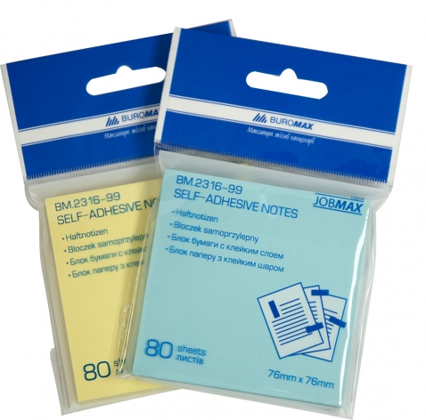 Блок для заметок 76 х 76 мм 80 л. Buromax BM.2316-99 пастельный