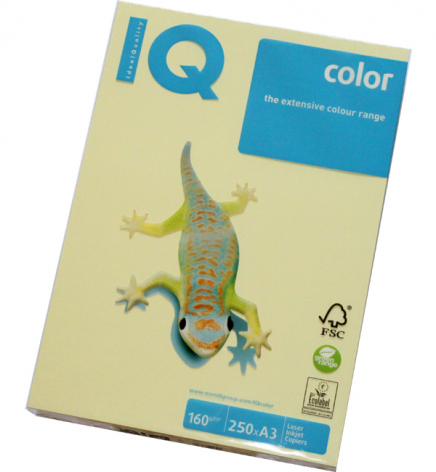 Бумага Color IQ Pastel A3 160 г/м2, 250 л Yellow (желтый) YE23