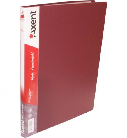 Дисплей-книга на 20 файлов, AXENT 1020-04-А бордовый