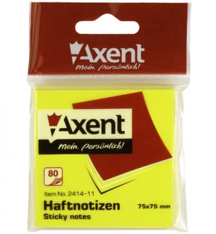 Блок для заметок 75 х 75 мм 80л. AXENT 2414-11-A желтый неон