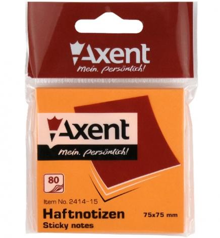 Блок для заметок 75 х 75 мм 80л. AXENT 2414-15-A оранжевый неон