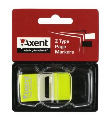 Закладки пластиковые (45 х 25 мм х 50 л.) AXENT 2446-01-А желтый