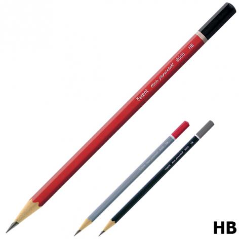 Карандаш графитный твердомягкий HB, шестигранный корпус без ластика, Axent 9000-А