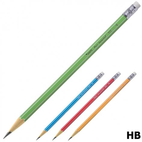 Карандаш графитный твердомягкий HB, шестигранный корпус с ластиком, Axent 9001-А