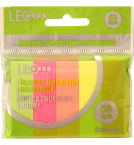Закладки индекс-регистри бумажные 51х15 мм (5 цветов по 50 листов) LEO L1216 (170147)