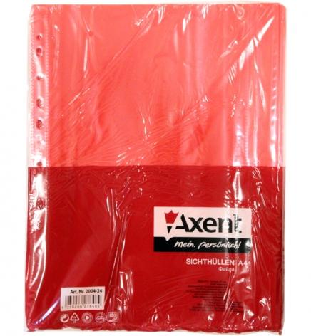 Файлы А4, красные, 40 мкм 100 шт./уп. AXENT 2004-24-А красный