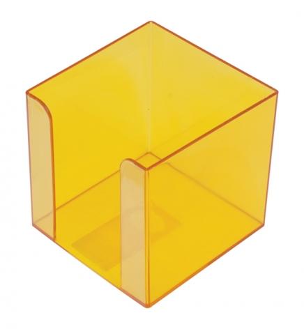Бокс для бумаги пластиковый 9 х 9 х 9 см Арника 83036 лимонный