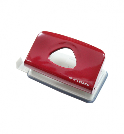 Дырокол на 10 л. металлический с линейкой, Letack MP-101 красный