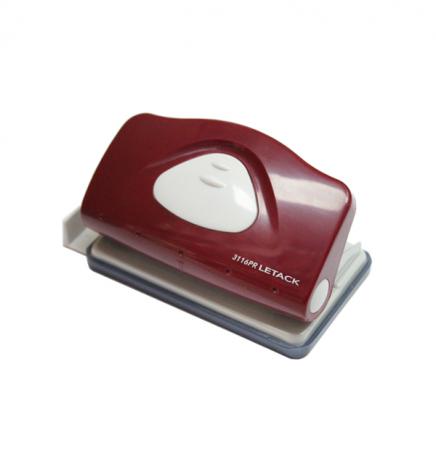 Дырокол на 10 л. пластиковый с линейкой Letack 3116PR красный