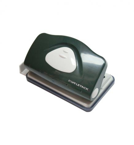 Дырокол на 10 л. пластиковый с линейкой Letack 3116PR зеленый