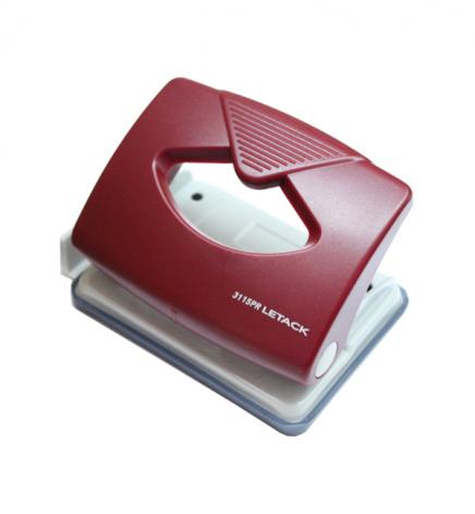 Дырокол на 16 л. пластиковый с линейкой Letack 3115PR красный