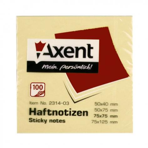 Блок для заметок 75 х 75 мм 100 л. AXENT 2314-01-A желтый пастельный