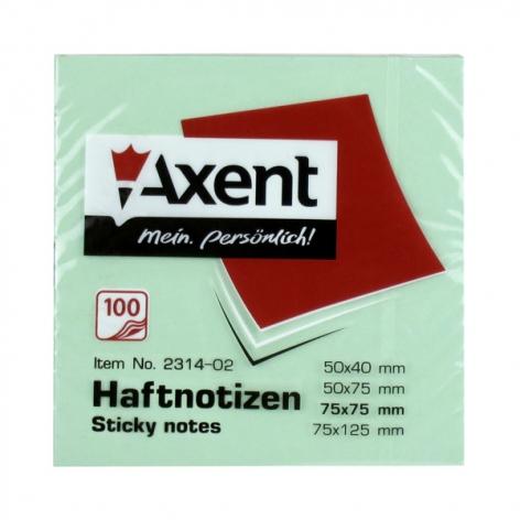 Блок для заметок 75 х 75 мм 100 л. AXENT 2314-02-A зеленый пастельный